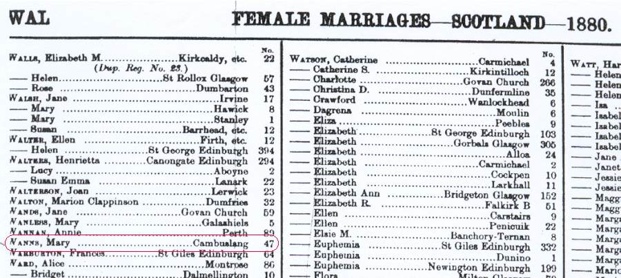 uk 1880 mary wanns marriage register